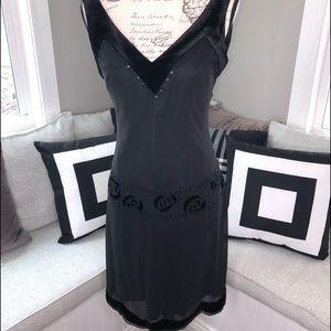 Nine West Dress. Black with velvet and bead detail